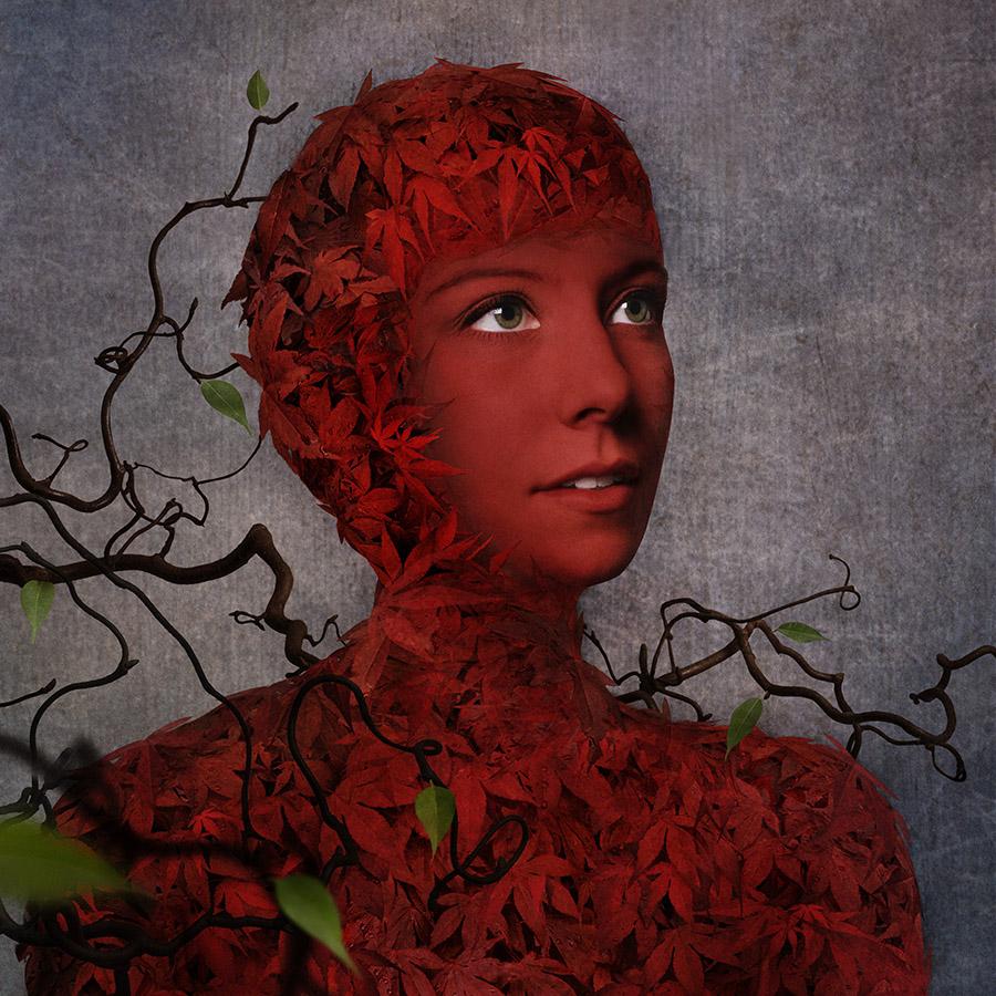 GIRL OF LEAF #1 of 20 á 50x50 cm. #1 of 5 á 75x75 cm. #1 of 3 á 100x100 cm. From 5250 SEK